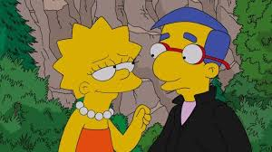 Milhouse putting on his bad boy-suit for Liza.